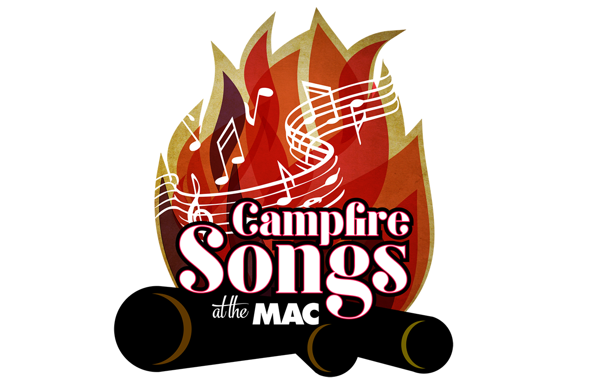 Image of Campfire with the words Campfire Songs at the Mac written over it