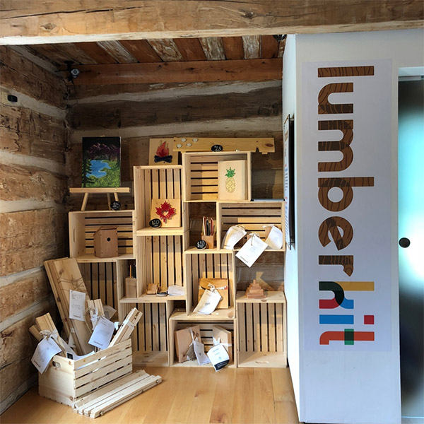 Lumberkit display in the  Log  House at the Maclachlan Woodworking Museums. Kits can be purchased and built onsite.