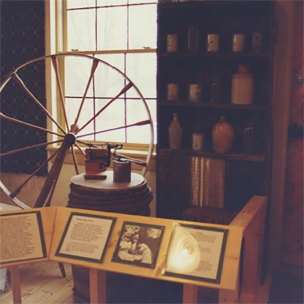 Left & Middle: Museum exhibits interpreting pioneer life