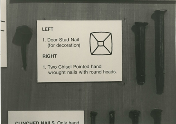 Three images of the original museum exhibits curated by Sandy MacLachlan: different types of nails